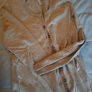 Button front wool sweater cream
